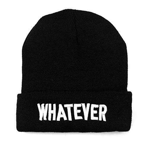 NYKKOLA Winter Black Whatever Beanie Hat and Snapback Men and Women Winter Cap