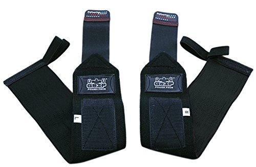 Grip Power Pads Deluxe Wrist Wraps (1 Pair /2 Wraps) for Weight Lifting Wrist Support Cotton Wraps Gym Bandage Straps for Men & Women - Premium Quality & PRO Rubber (Jet Black, 13