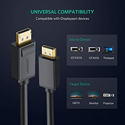 6ft DP to DP Cable 4K UHD DisplayPort Monitor Cable for PC Host Graphics Cards