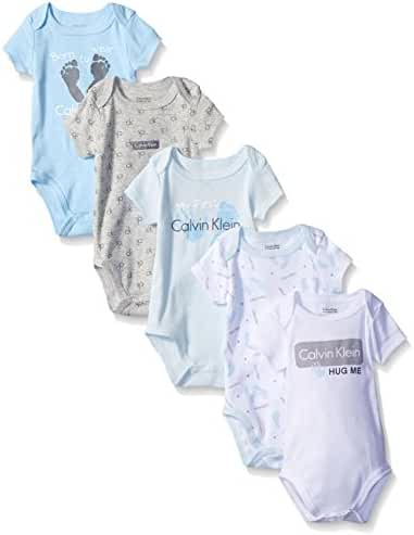 Calvin Klein Baby Boys' Assorted Short Sleeve Bodysuit (Pack of 5)