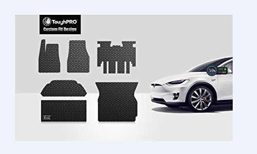 ToughPRO Tesla Model X Floor Mats Set and Trunk Mats Set - All Weather - Heavy Duty - Black Rubber - 5 Seater Only - 2016-2017-2018-2019
