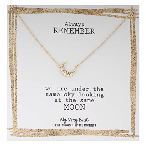 My Very Best Crescent Moon Necklace (Gold Plated Brass) (Sun And Moon Best Friend Rings)