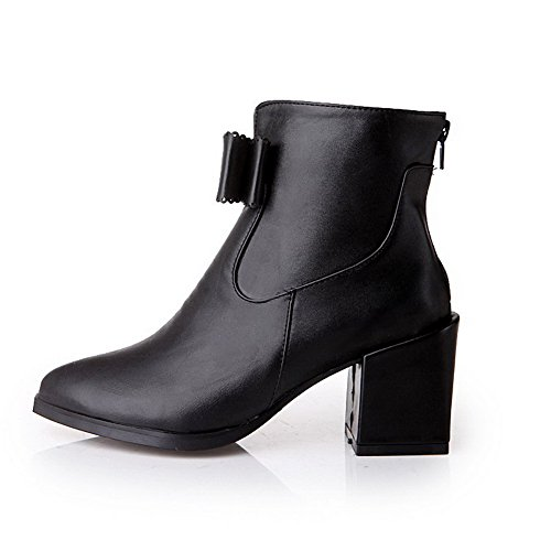 AgooLar Toe Heels Blend Closed bowknot Materials Black Boots Women's High PrnB4POq