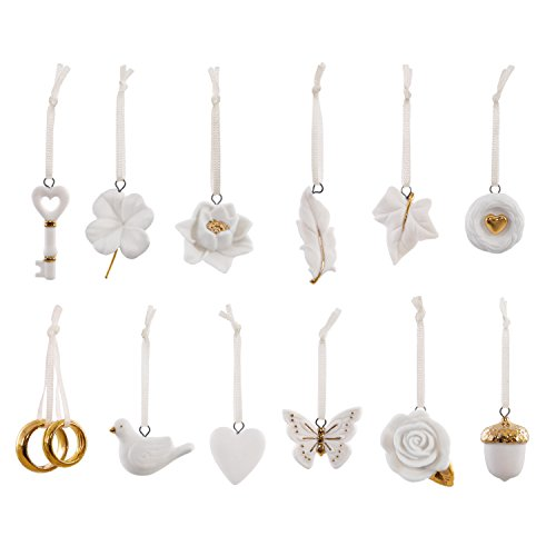 Hallmark Keepsake 2017 Wedding Wishes Mini Porcelain Christmas Ornaments, Set of 12 (Bridal Ornaments Set)