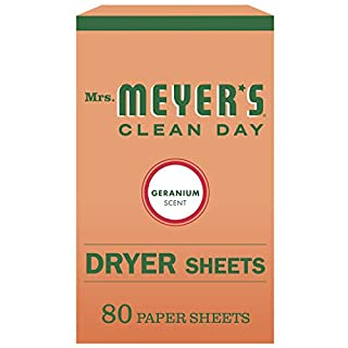 Mrs. Meyer's Clean Day Dryer Sheets, Softens Fabric, Reduces Static, Geranium Scent, 80 Count