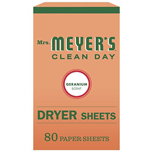 (Mrs. Meyer's Clean Day Dryer Sheets, Geranium Scent, 80 Count)