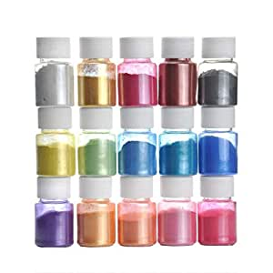 15 Colors Slime Powder DIY Mica Powder Natural Soap Colorant Dye Epoxy Resin Pigment Powder Makeup Nail Art Hair Eyeshadow Candle for Adhesive Pigments Bath Mucus Powder Dye Bath Bombs