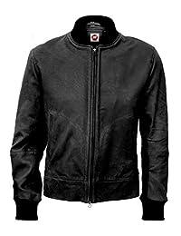 Takitop Camo Mens Racing Moto Biker Black Leather Jacket, XXX-Large, Black