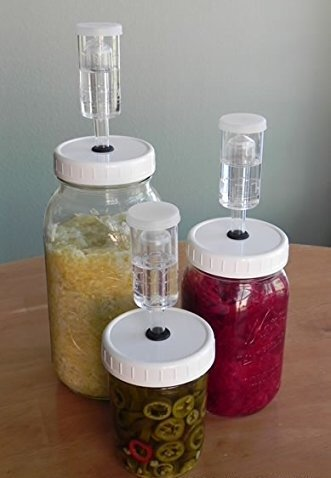 Easy Fermentation Kits! (Set of 3) Regular Mouth, Make Your Own Sauerkraut, Fermented Pickles and More! by Grow Bag Garden Systems LLC