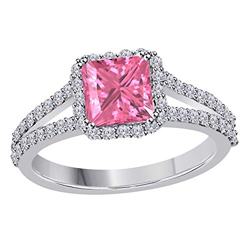 (Star Retail 2.00 Ct Princess Cut Halo Pave Eternity Lab Created Pink Sapphire & White CZ Split Shank Engagement Ring in 14k White Gold Plated Size 7)