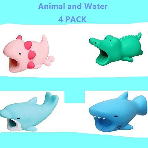 - DECVO Cable Protector for iPhone iPad Cable Android Samsung Galaxy Cord Plastic Cute Water Animals Phone Accessory Protects USB Charger Data Protection Cover Chewers Earphone Cable Bite 4 PC (ACDB)