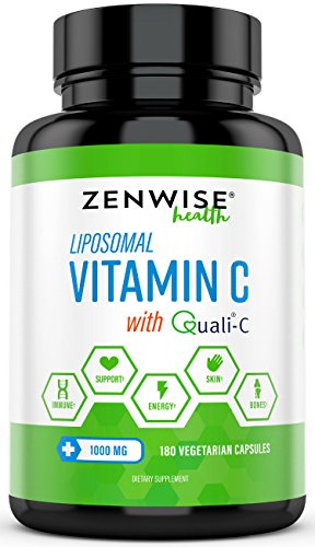 Liposomal Vitamin C with 1000mg Quali®-C - Extra Strength Vit-C Ascorbic Acid for Daily Antioxidant Immune Health - Powerful Energy Boost & Skin Care Support - 3 Month Supply - 180 Vegetarian Capsules