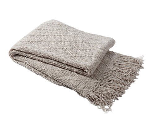 BOURINA Throw Blanket Textured Solid Soft Sofa Couch Cover Decorative Knitted Blanket, 50