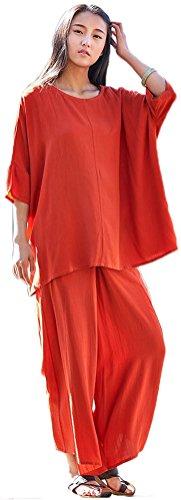 Soojun Women's Solid Loose Cotton Linen 2 Pcs Dolman Blouse Wide leg Pants Suits Orange