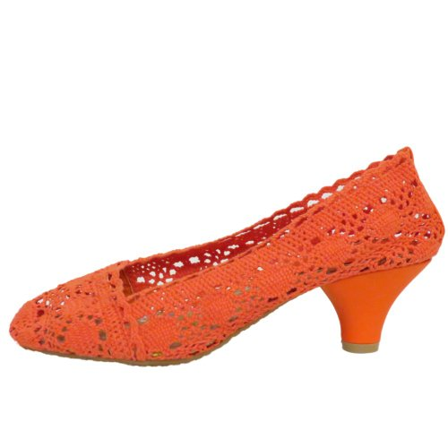 Slip Orange Ladies Ballerina Heel Crochet Womens Summer On Kitten Pumps xqYd4qwv