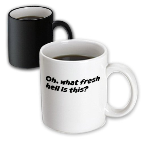 3dRose Oh, What Fresh Hell is This Magic Transforming Mug, 11 oz, Black/White