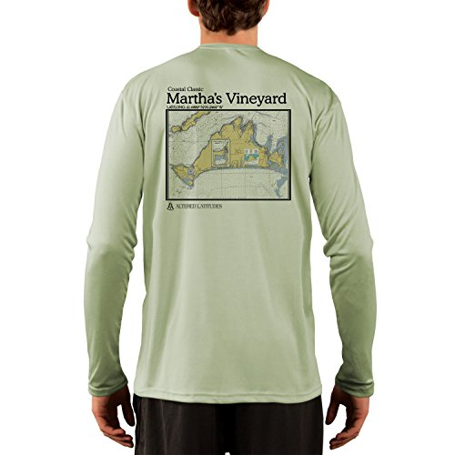 Coastal Classics Martha's Vineyard Chart Men's UPF 50+ Long Sleeve T-Shirt X-Large Sage