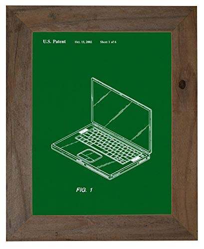 - Steve Job's First Laptop Patent Art Green Print in a Barnwood Frame (20
