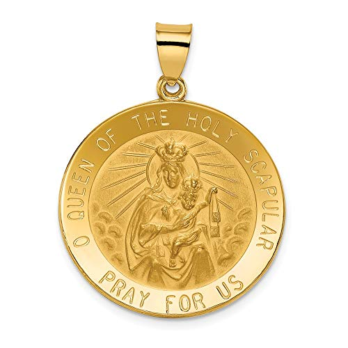 Jewel Tie 14k Yellow Gold Queen of the Holy Scapular Reversible Medal Pendant (25mm x 28mm) ()