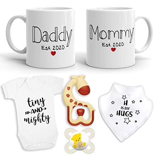 2020 Est Pregnancy Gift - New Mommy & Daddy 11 oz Mug Heart Set with