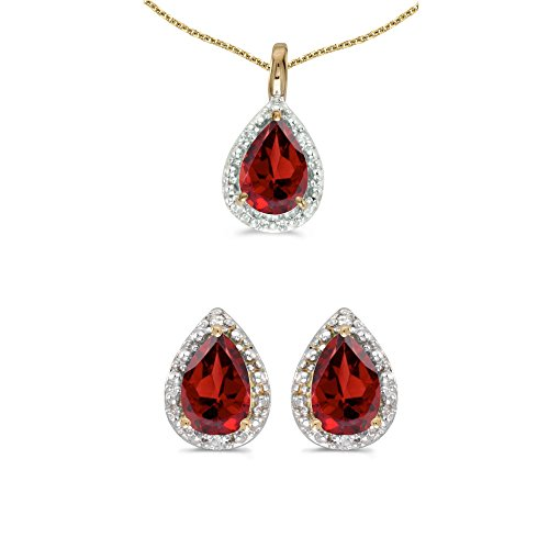 10k Yellow Gold Pear Garnet And Diamond Earrings and Pendant Set