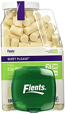 Flents Quiet Please Foam Ear Plugs (100 Pair) with a Clear Plastic Travel Jar - NRR29