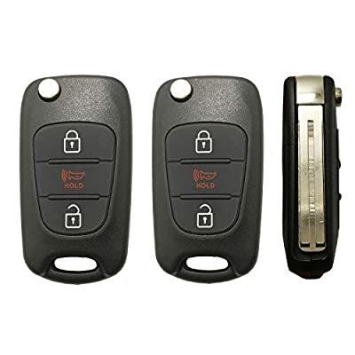 Horande Uncut Folding Replacement Keyless Entry Remote Control Key Fob Case Cover fit for 2011-2013 Kia Soul Sportage Key Fob Shell Blank (2PCS): Car Electronics