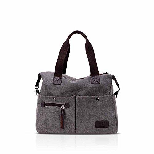 NICOLE & DORIS bolsos de mujer de la vendimia bolso de hombro de la escuela casual Crossbody bolsa de gran capacidad Azul Gris