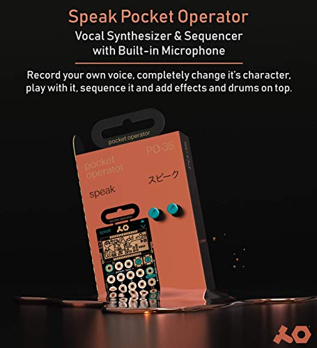 Teenage Engineering PO-35 Speak Pocket Operator Built-In Mic, Patterns/Effects Synthesizer & Sequencer Bundle with CA-X Silicone Case, Blucoil 6-FT Headphone Extension Cable (3.5mm) & 2 AAA Batteries by blucoil (Image #1)