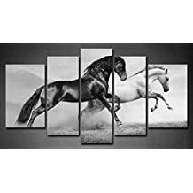 First Wall Art - 5 Panel Wall Art Black And White Horses In Summer Black And White Running On Freedom Grassland Painting The Picture Print On Canvas Animal Pictures For Home Decor Decoration Gift piece (Stretched By Wooden Frame,Ready To Hang)