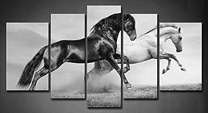 First Wall Art 5 Panel Negro Y Blanco Caballos Corriendo En Pradera En VeranoPintura de la Pintura de la Pared La impresión de la Imagen Decoración Moderna del Ministerio del Interior