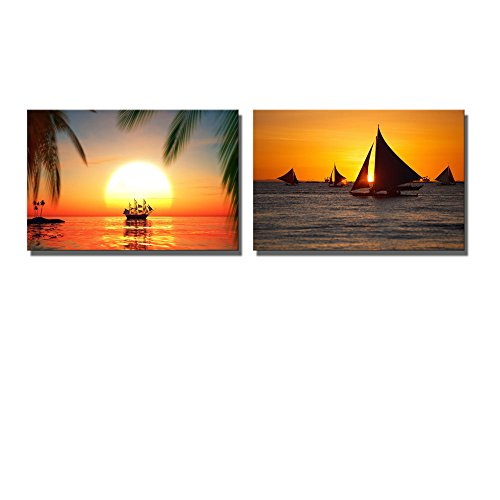 Wall26 - Canvas Prints Wall Art - Tropical Scenery Sailboats Against Beautiful Sunset in Boracay Philippines | Modern Wall Decor/ Home Decoration Stretched Gallery Canvas Wrap Giclee Print & Ready to Hang - 16