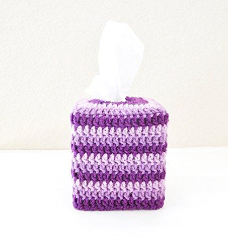 Crochet Tissue Box Cozy, Bathroom Accessory, Purple Stripes