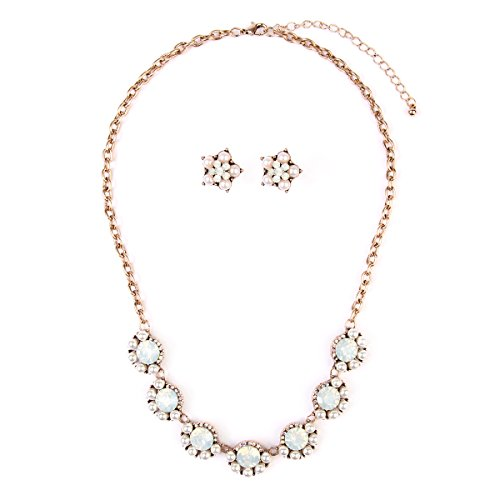 Fashion Floral Fashion Statement Necklace - Crystal Daisy Bold Acrylic Jewel Collar Bib & Drop Earrings Set (Pearl) ()