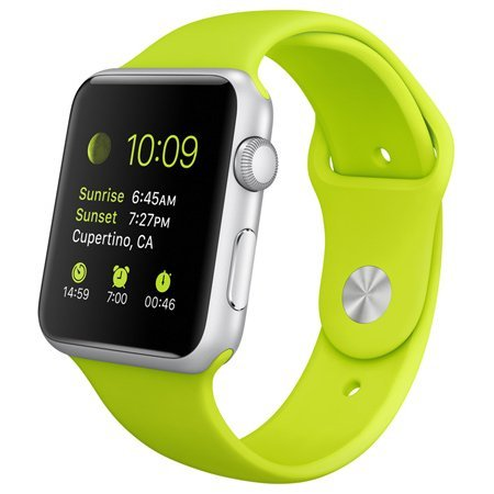 Apple Watch Sport 42mm Aluminum Case with Green Sport Band
