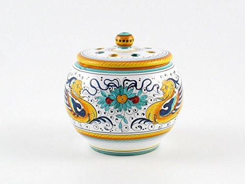 Hand Painted Italian Ceramic Garlic Jar Raffaellesco - Handmade in Deruta by Fima