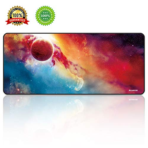 BUANIIH Extended Gaming Mouse Pad, Thick Large (27.6×11.8×0.12) Computer Keyboard Mousepad Mouse Mat, Washable & Foldable, Durable Stitched Edges with Non-Slip Base, Ideal for Both Gaming
