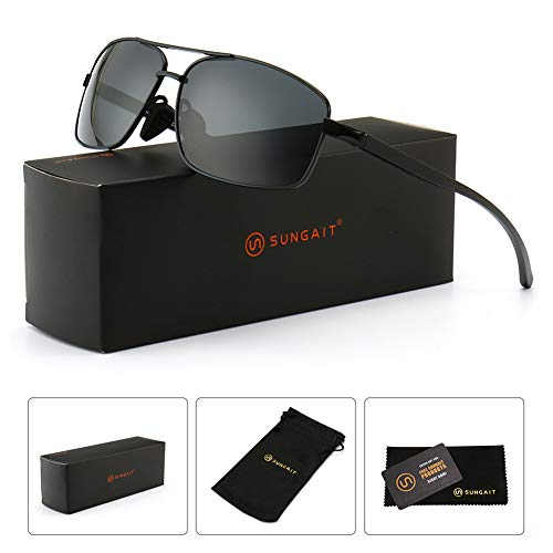 SUNGAIT Ultra Lightweight Rectangular Polarized Sunglasses 100% UV protection (Black Frame Gray Lens, 62) Metal Frame 2458 HKH by SUNGAIT