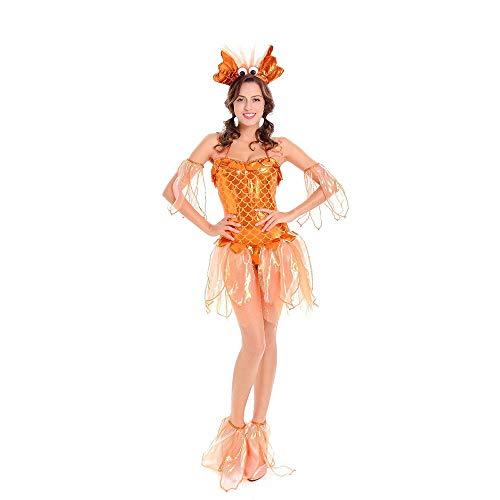 Goldfish Halloween Costume (LVLUOYE Cosplay Stage Costume, Golden Mermaid Costume, Halloween Mermaid Princess Goldfish Lady Plays)