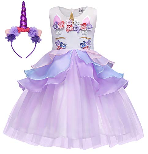 HenzWorld Girls Unicorn Embroidered Princess Pageant Ball Gowns Wedding Party Dress Birthaday Outfit with Horn Headband Size 5-6 Years
