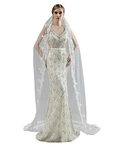 anmor 2T Long Wedding Veils 2M/3M Tulle Bridal Veil White Ivory with Comb AR11059