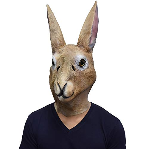 Latex Brown Rabbit Overhead Mask Animal Bunny Mask Party Cosplay Carnival Head Costume for Adult