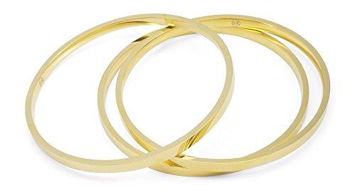 Stainless Steel Tri-color Bangle Bracelets for Women 3-piece Set - 8