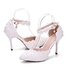 "Dress First Women's High Heel Pumps Closed Toe Sandals Strap Stiletto Bridal Wedding Shoes,3.74"", White, 6.5"