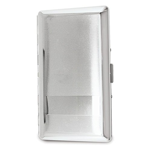 (Silver-tone Cigarette and Cards Case with Mirror (Holds 10-120mm))