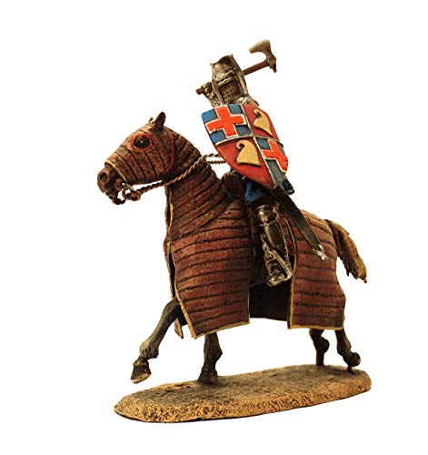 Military-historical miniatures Knight 13th Century Hand Painted Tin Metal 54mm Action Figures Toy Soldiers Size 1/32 Scale for Home Décor Accents Collectible Figurines Item #6022KE