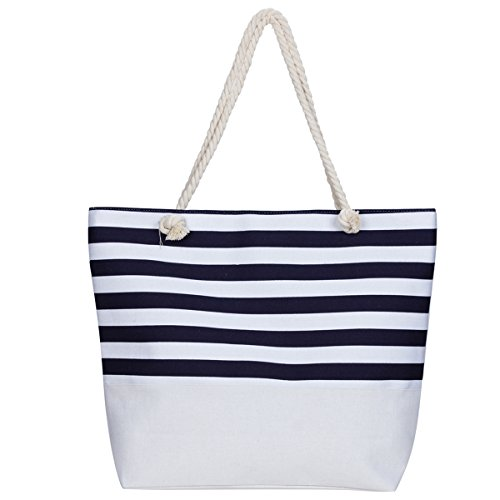 Extra Large Beach Tote Bag MISS FANTASY Canvas Tote with Stripe Print Top Zipper Shoulder Bag for Beach Travel (Navy) (Stripe Beach Bag)