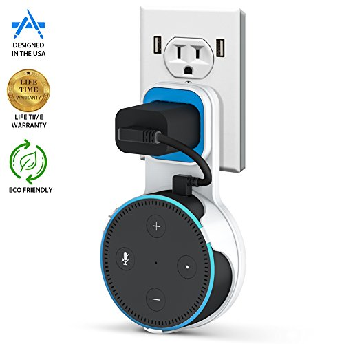 Price comparison product image Pomufa Outlet Wall Mount Hanger Stand for Dot 2nd Generation, A Space-Saving Solution for Your Smart Home Speakers without Messy Wires or Screws - White (T1)