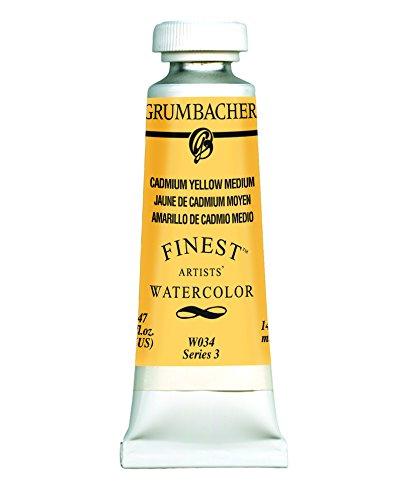 Grumbacher Finest Watercolor Paint, 14 ml/0.47 oz, Cadmium Yellow Medium