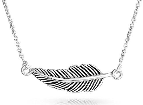 (Bohemian Boho Style Sideways Diagonal Feather Leaf Pendant Necklace For Women For Teen Oxidized 925 Sterling Silver)